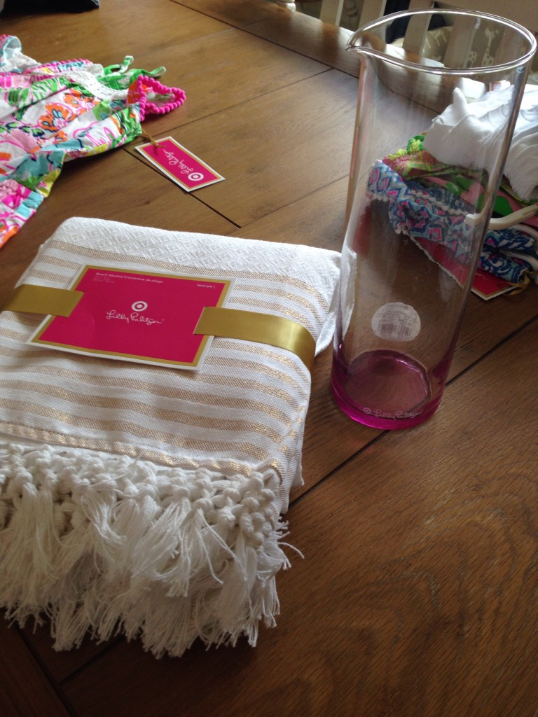 Beach blanket (LOVE) and wine carafe (took back)
